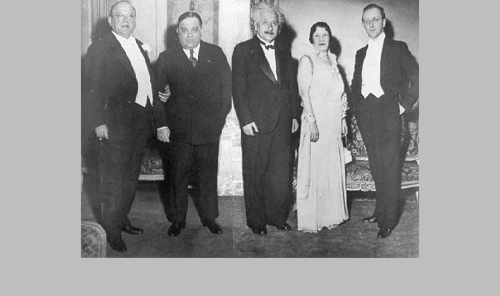 Mayor Fiorello La Guardia with Albert Einstein and others at a banquet at the Plaza Hotel, April 1939