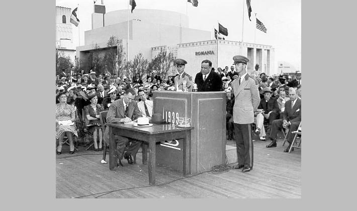 Mayor La Guardia speaking at the Court of Peace at the World's Fair in Queens, May 1939