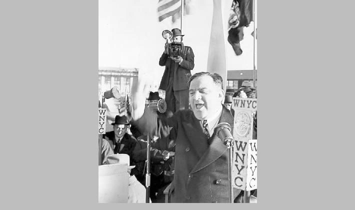 Mayor Fiorello La Guardia speaks at the opening of New York City Municipal Airport #2, which was later renamed LaGuardia, October 15, 1939