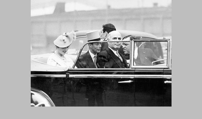 King George VI and Queen Elizabeth in a motorcade at Battery Park, along with Mayor Fiorello La Guardia and Governor Herbert Lehman, June 1939
