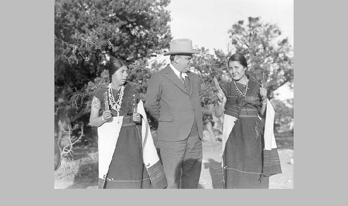 Mayor Fiorello La Guardia poses with local people during a tour of the Grand Canyon, April 1935