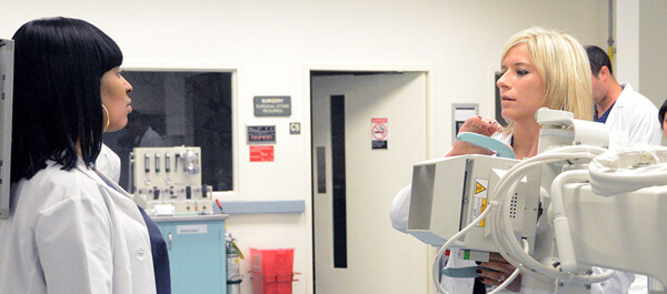 Radiologic Technology: Students using a portable x-ray machine