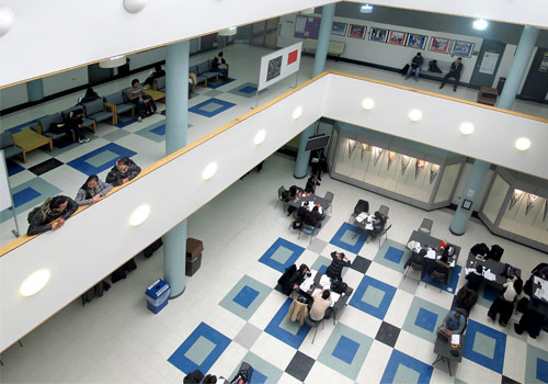 aerial view of E building atrium