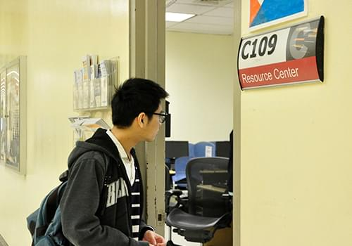 Student visiting the Reosurce Center located in the C-Building, Room C-109