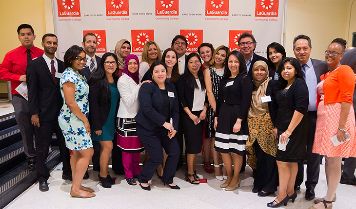 Graduates of the first LaGuardia Medical Billing cohort. The program is a result of ongoing partnership and collaboration among the Harvard Business School Club of New York, Weill Cornell Medicine, the New York Alliance for Careers in Healthcare, the NYC Department of Small Business Services, and LaGuardia Community College.