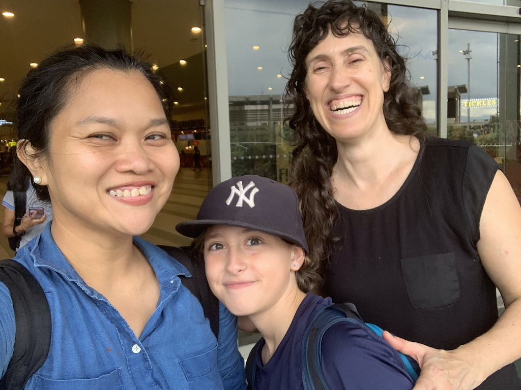 Dr. Karen Miller (at right) with her son, Oscar Miller, and Professor Sarah Raymundo who served as a Fulbright Scholar-In-Residence at LaGuardia Community College in 2017-2018