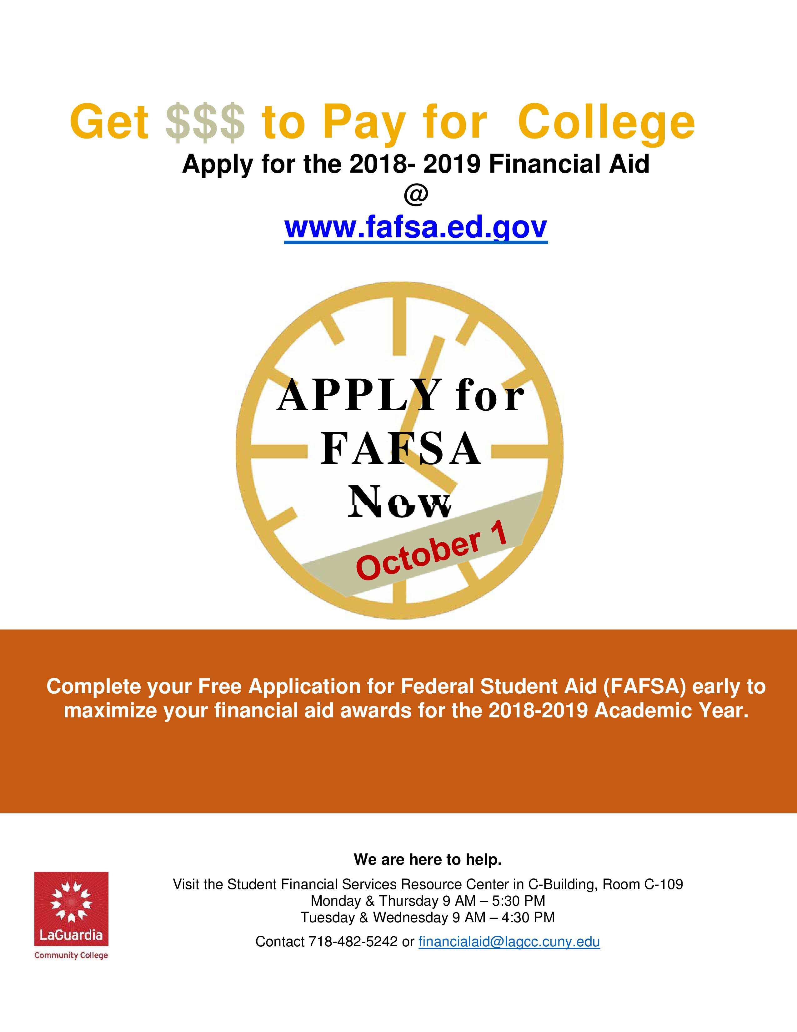 Apply for 2018-2019 Financial Aid