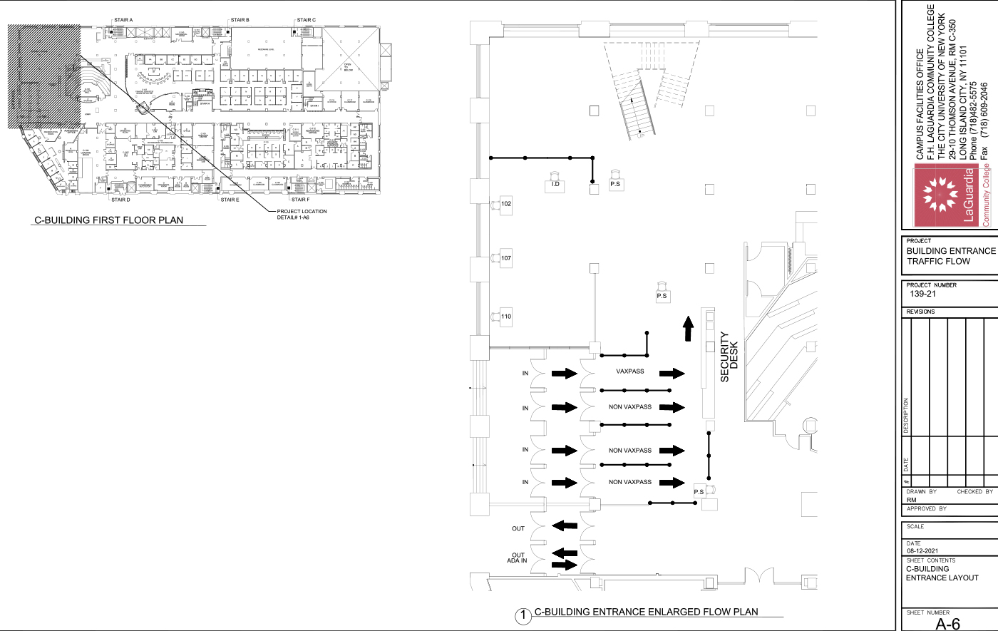 LaGuardia's campus facilities E-building  5th floor_ office suite layout