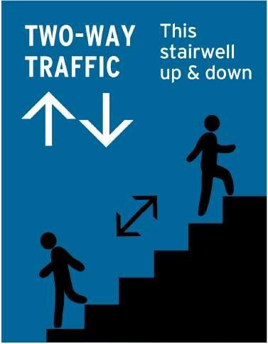 Two way traffic stairs