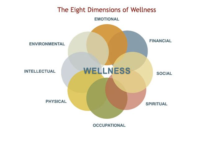 8 dimensions of health The student life student wellness center promotes balanced lifestyles and student success through the 9 dimensions of wellness including: emotional, career, social, intellectual, spiritual, physical, financial, creative and environmental.